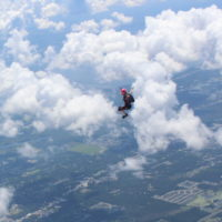 two experienced jumpers in freefall against blue FL skies