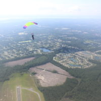 aerial view of experienced skydiver flying over Jacksonville FL