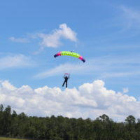 experienced skydiver coming in to land at World Skydiving Center